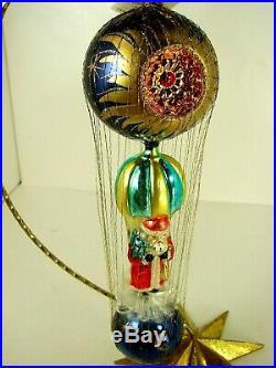 Vintage 1994 Christopher Radko Starbuck Santa Ornament w Radko Star Orn. Stand