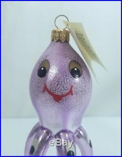 Vintage CHRISTOPHER RADKO 1993 PURPLE OCTOPUS CHRISTMAS Ornament-withoriginal tag