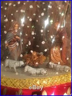 Vintage Christopher Radko NATIVITY SNOWFALL Finial Snowglobe Christmas Ornament