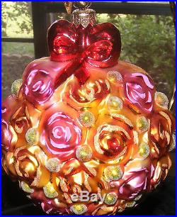 Vintage Christopher Radko THE ROSE BALL Roses Topiary Easter Ornament VERY Rare