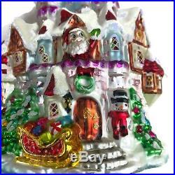 Vintage Signed Radko Christmas Ornament North Pole Palace Glass Figural Santa