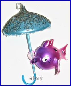 Vtg Radko Under The Weather Fish Umbrella Figural Italy Italian Glass Ornament